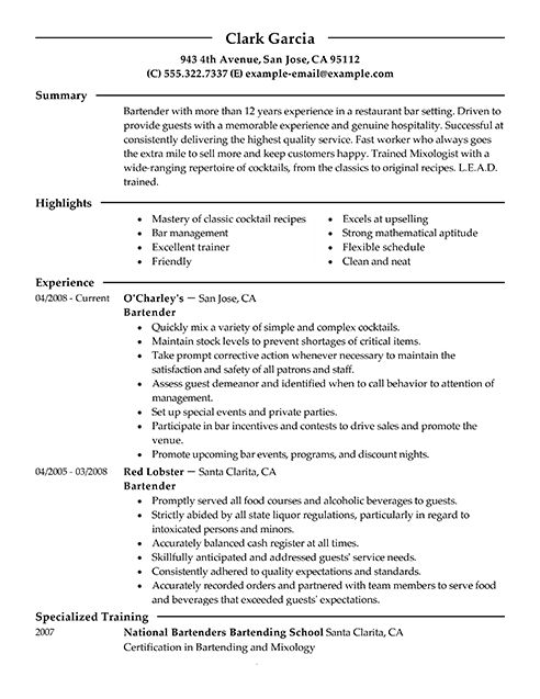 Examples Of Bartending Resumes - Resume Templates