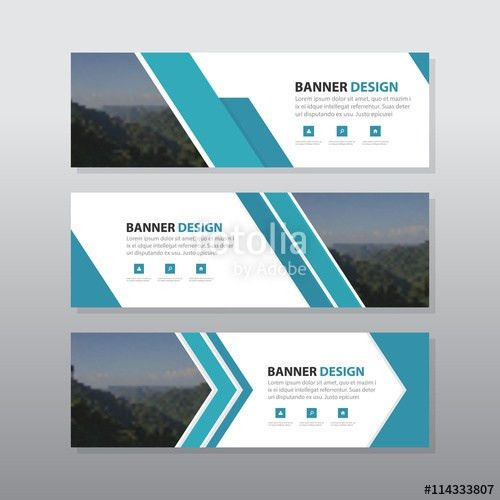 Blue abstract corporate business banner template, horizontal ...