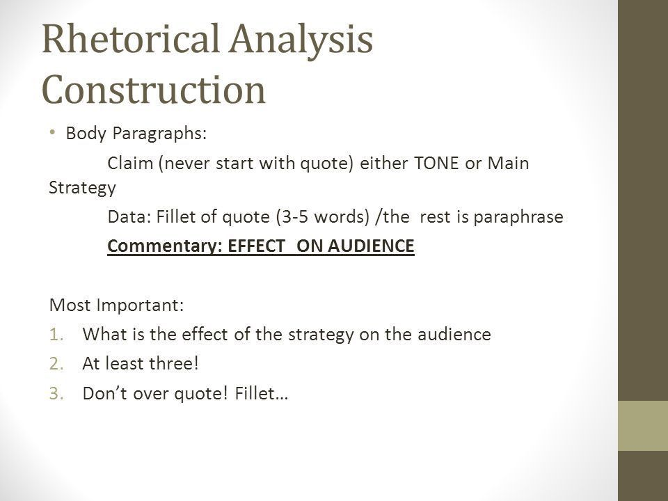 Finals Prep First semester AP Lang. Rhetorical Analysis - Outline ...