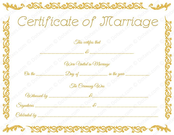 Printable Marriage Certificate Template - Dotxes