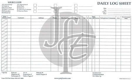 Inventory & Daily Log Books : Jody Forster Enterprises, For ALL ...