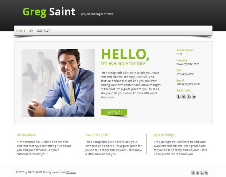 Resume Portfolio Websites Examples Online Cv Website Template ...