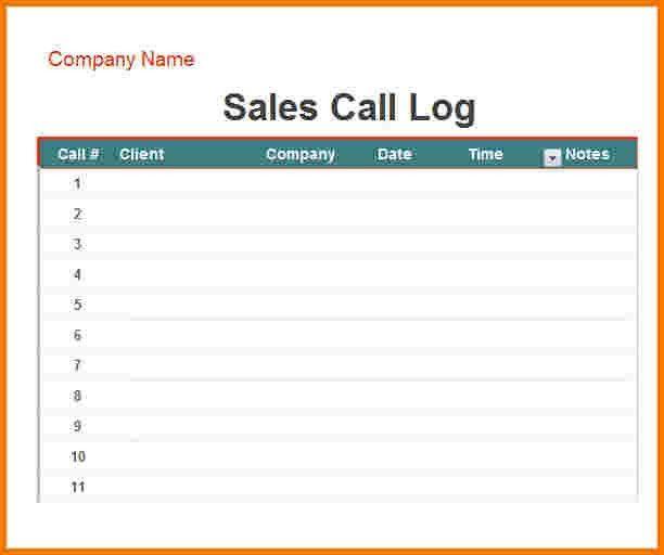 6 sales call log | Receipt Templates