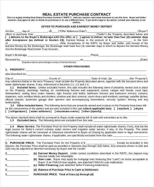 Real Estate Purchase Agreement Template Free  Real Estate Contract