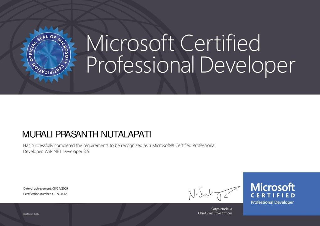 Microsoft certified Professional developer - Murali Prashanth