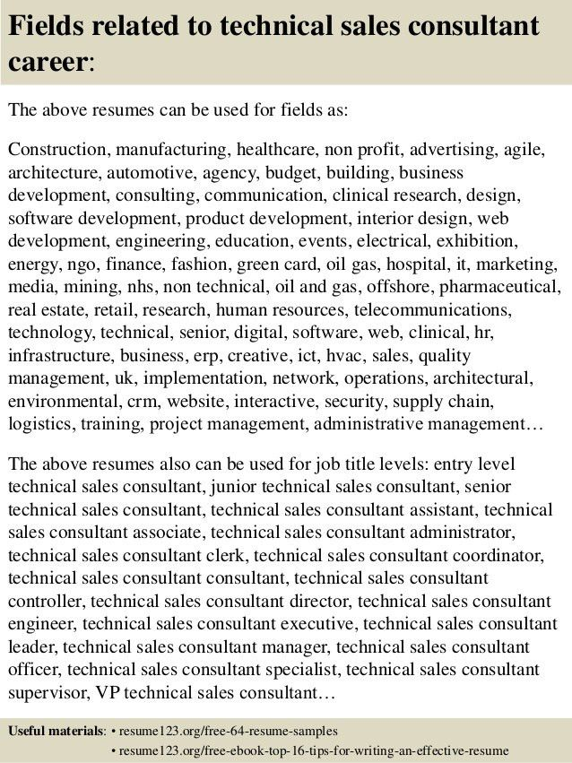 Top 8 technical sales consultant resume samples