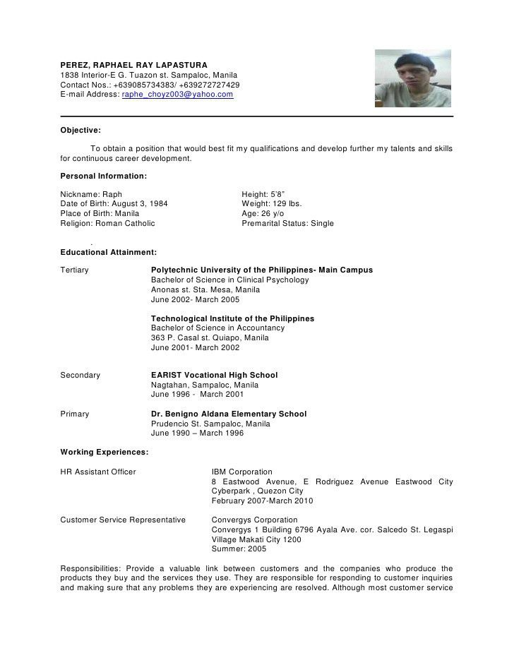 Sample Resume For Highschool Graduate In The Philippines ...