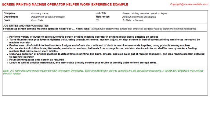 Screen Printing Machine Operator Helper Job Title Docs