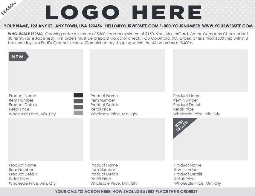 Coming Soon: Professional Line Sheet + Order Form Design