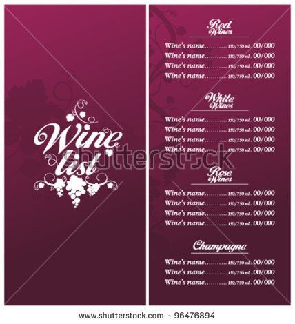 Wine List Template. classic templates and wine list download free ...