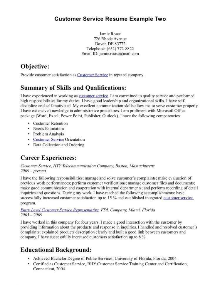 Customer Service Resume Objective - Template Examples