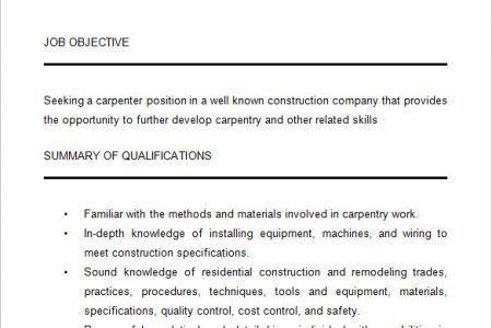 Samples Effective Resume Sample For Construction Carpenter Workers ...