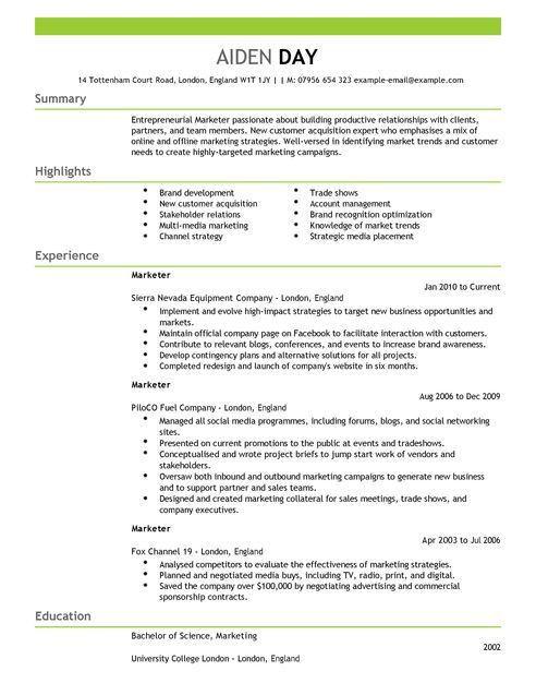 Marketing CV Examples | CV Templates | LiveCareer