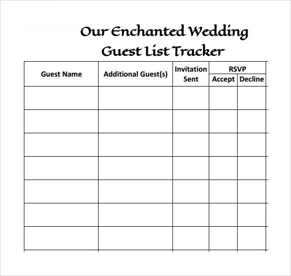 Blank Wedding Guest List Template Sample : Helloalive