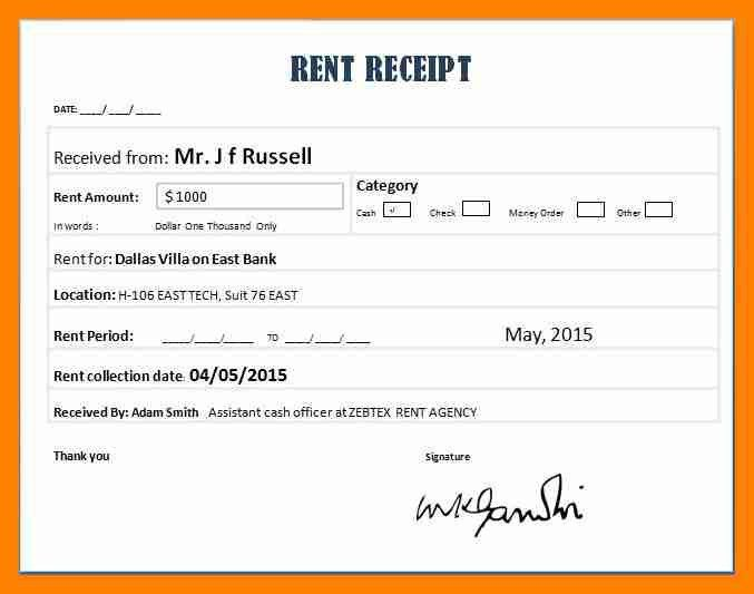 5+ rent receipt example | resumed job