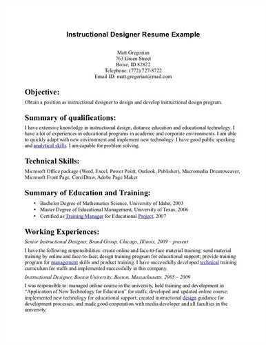 High Quality Instructional Designer Cover Letters