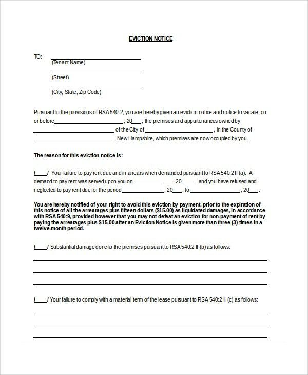 Eviction Notice Template. Sample Eviction Notice Template 37 Free ...