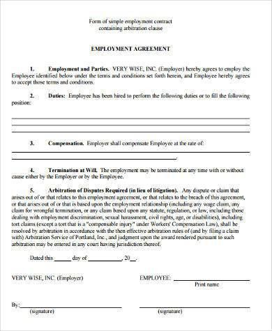 Sample Employment Agreement Forms - 9+ Free Documents in Word, PDF