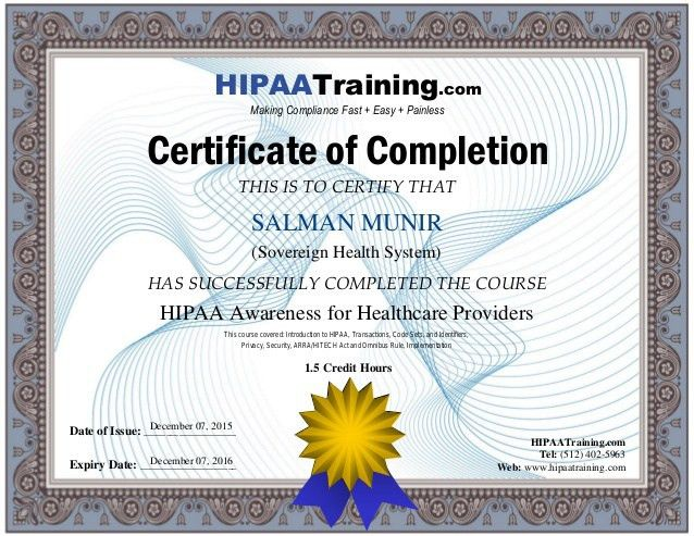 HIPAA Awareness Training Certificate For SALMAN_MUNIR