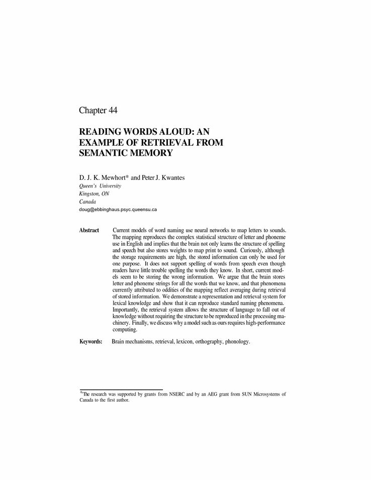 Reading Words Aloud: An Example of Retrieval from Semantic Memory ...