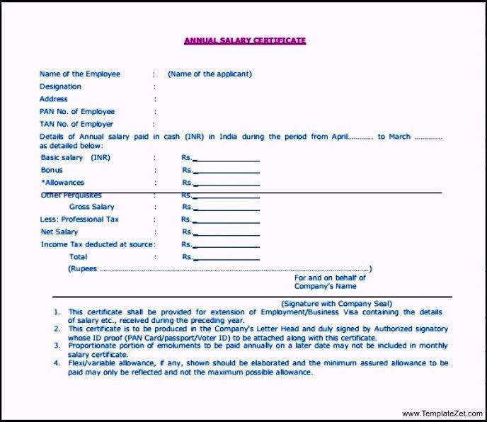 Salary Certificate Format | TemplateZet