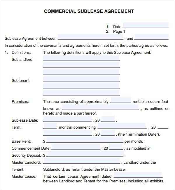6 Free Commercial Lease Agreement Templates - Excel PDF Formats