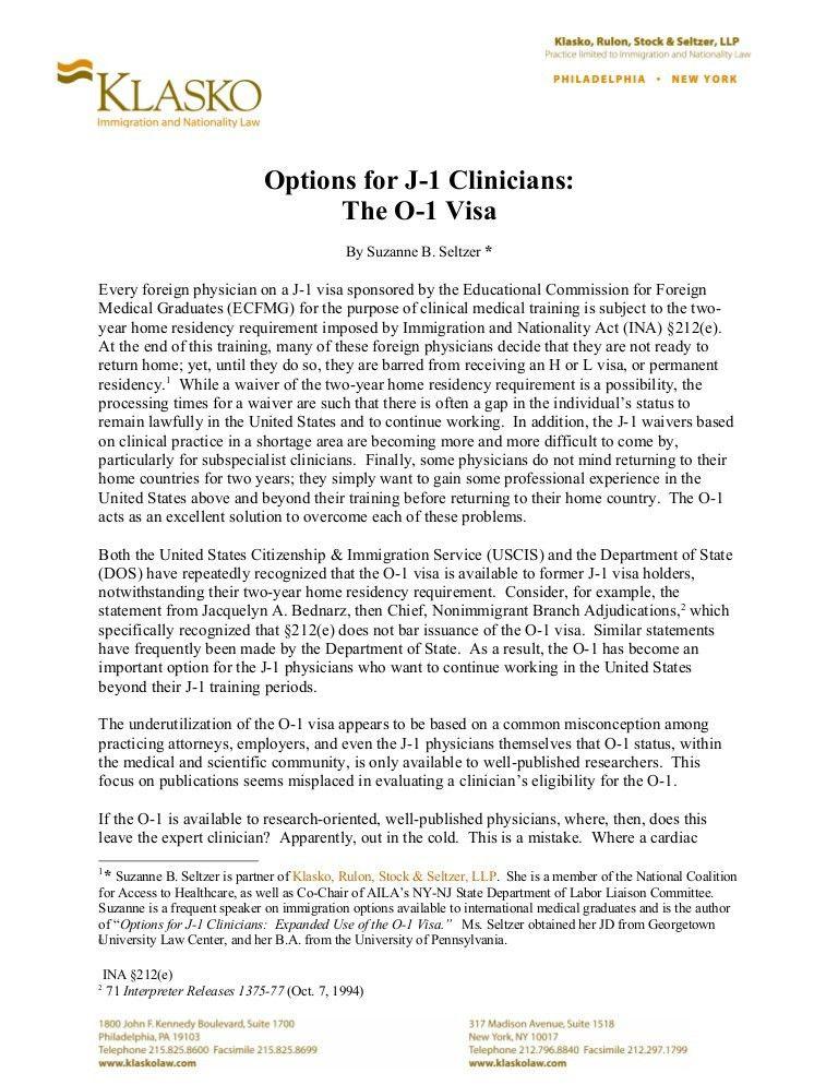 Options for J-1 Clinicians: The O-1 Visa