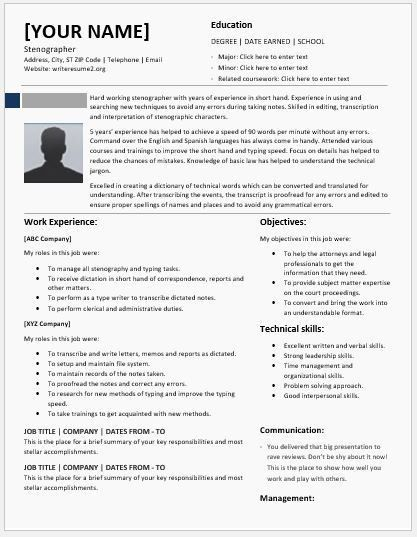 Stenographer Resume Templates for MS Word | Resume Templates