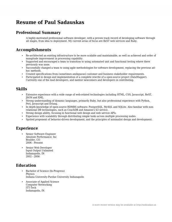 career summary resume example