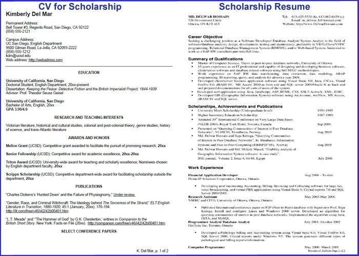 Scholarship Resume Template - Resume Example