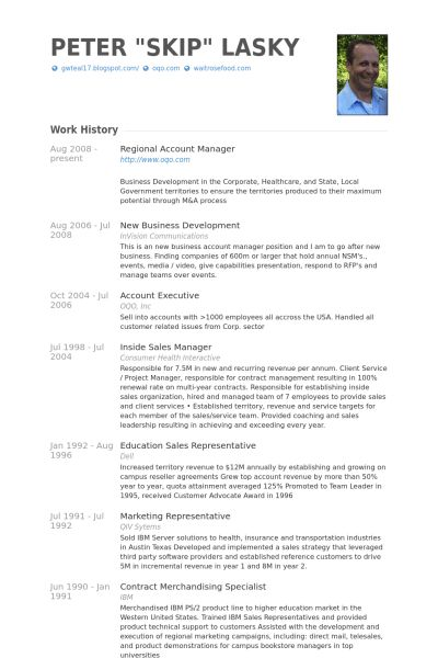 Regional Account Manager Resume samples - VisualCV resume samples ...