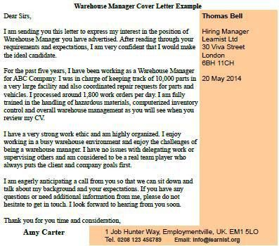 Warehouse Manager Cover Letter Example - forums.learnist.org