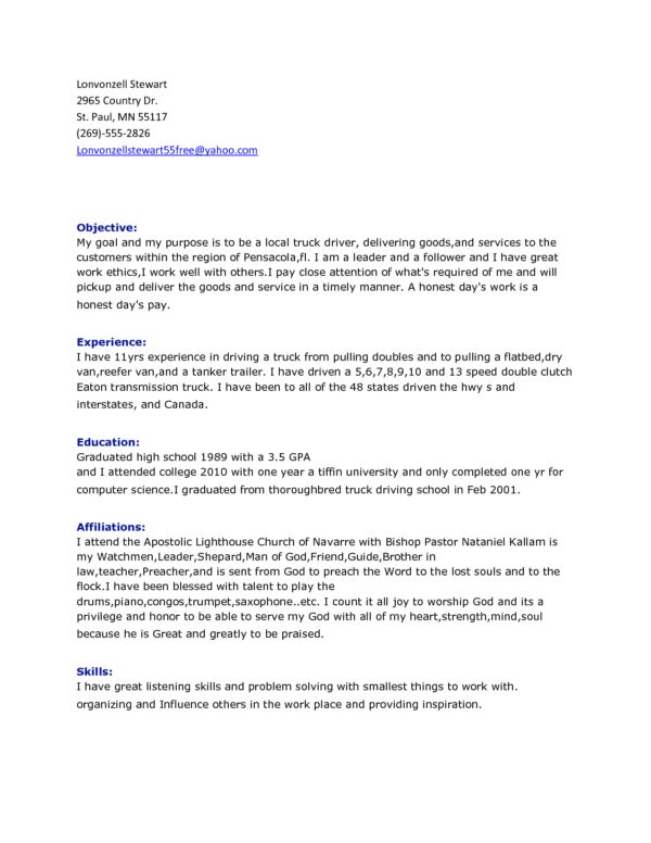 Awesome Truck Driver Resume Template Sample Displaying Summary and ...
