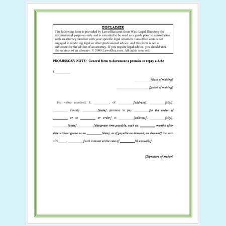 Promissory Note Templates - 5 Free Samples and Formats