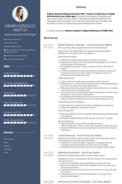 Operations Manager Resume samples - VisualCV resume samples database