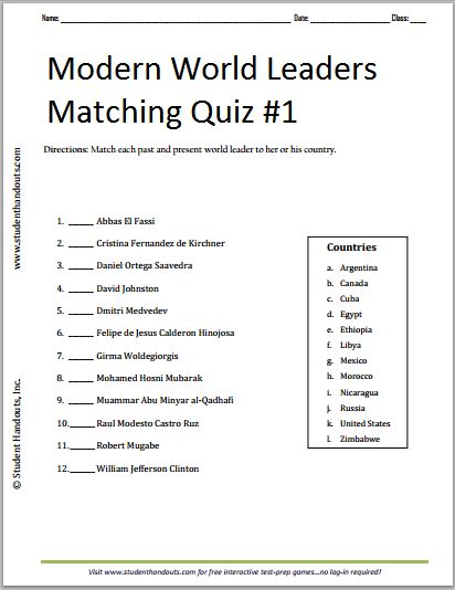 Modern World Leaders Printable Matching Quiz #1 ||| Free to print ...