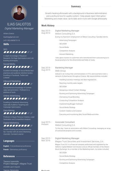 Digital Marketing Resume samples - VisualCV resume samples database