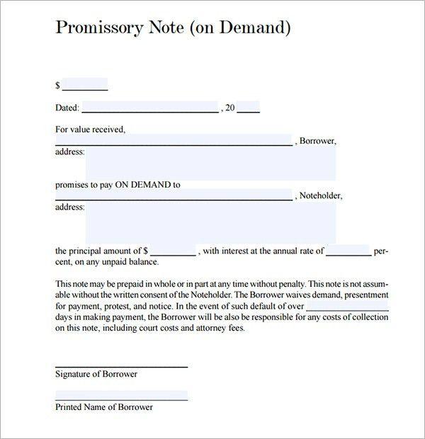 Promissory Note Template - vnzgames