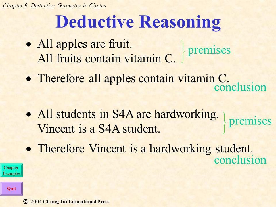 Chapter 9 Deductive Geometry in Circles Chung Tai Educational ...