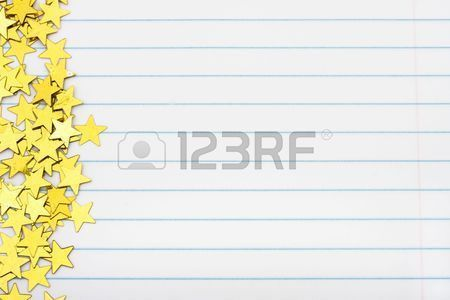 Gold Stars Making A Border On A Lined Paper Background, Gold ...