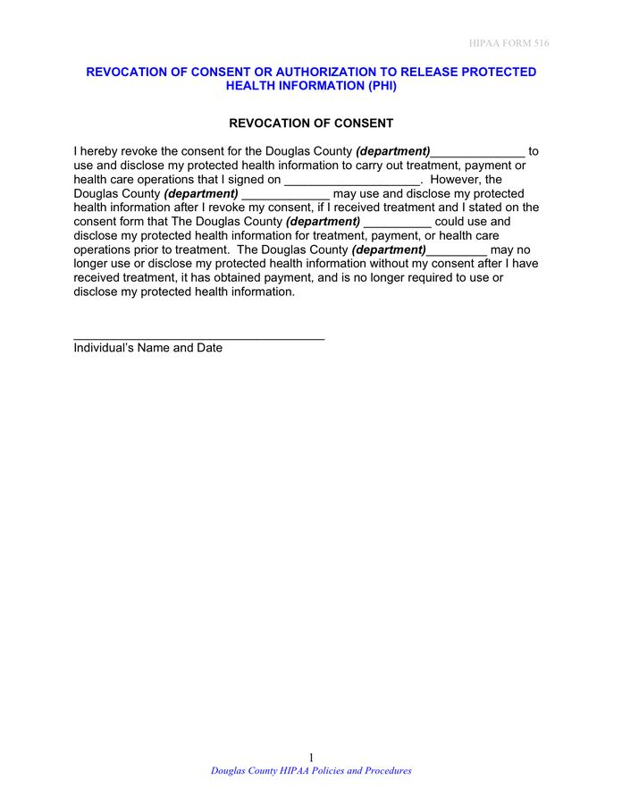 Revocation of consent or authorization to release personal ...