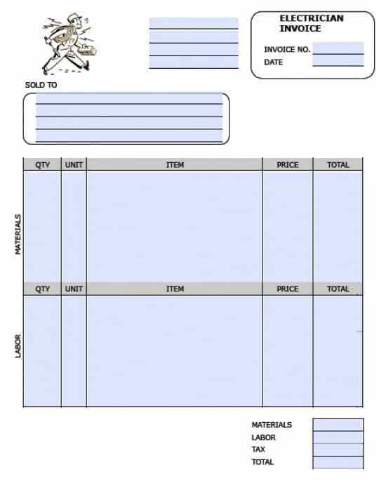 Free Electrician Invoice Template | Excel | PDF | Word (.doc)