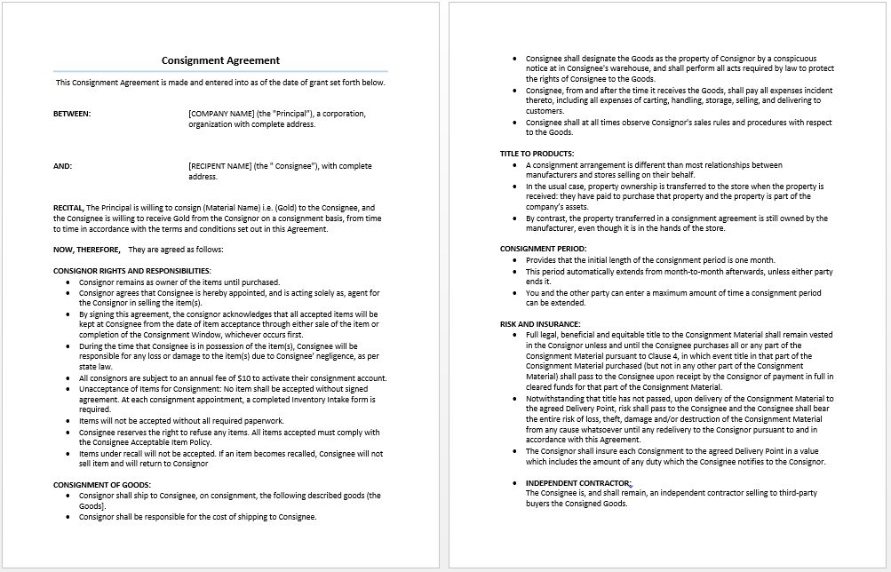 Consignment Agreement Template | Microsoft Word Templates