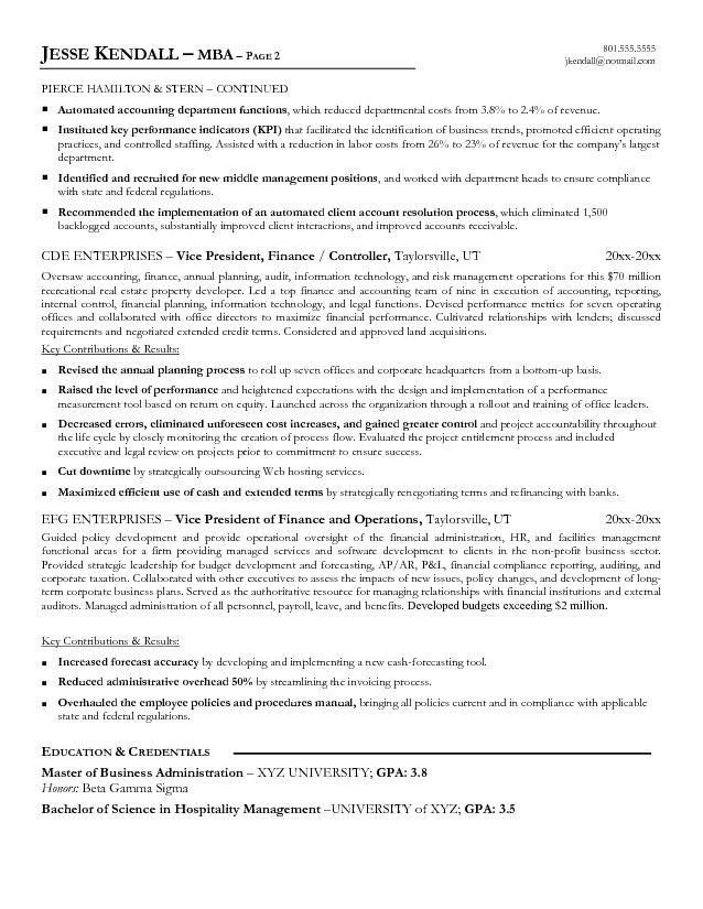 Free Vice President of Finance Resume Example