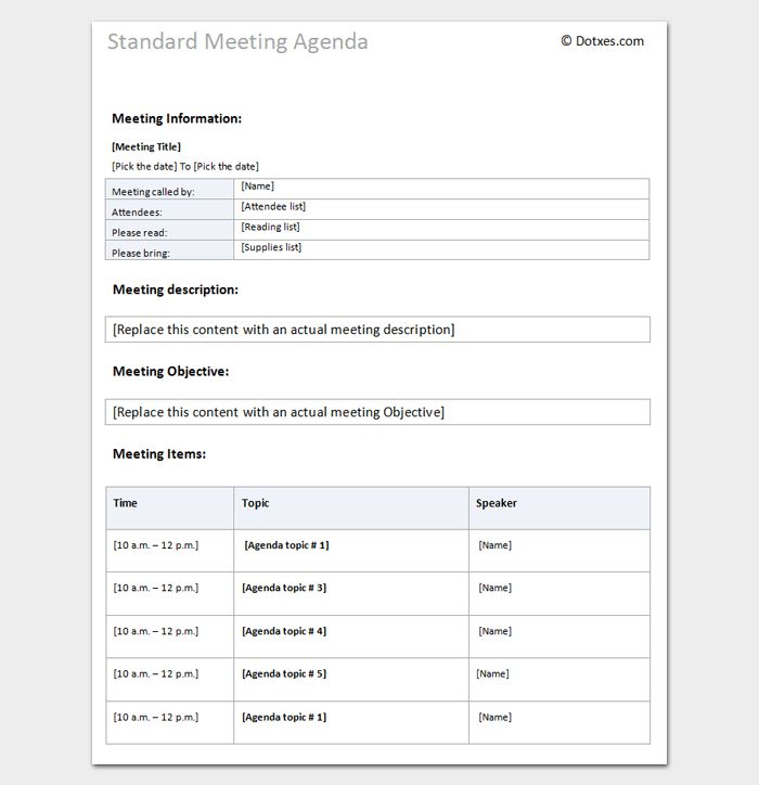 Agenda Outline Template - 10+ For Word, Excel, PDF Format
