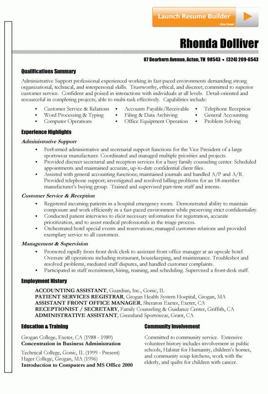 Functional Resume Example | Functional resume, Administrative ...