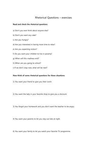 10 best Rhetorical Questions by Ms Waters images on Pinterest ...