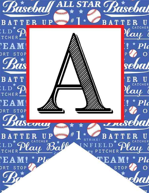 BASEBALL - Alphabet Flags, CREATE a BANNER, baseball pattern ...