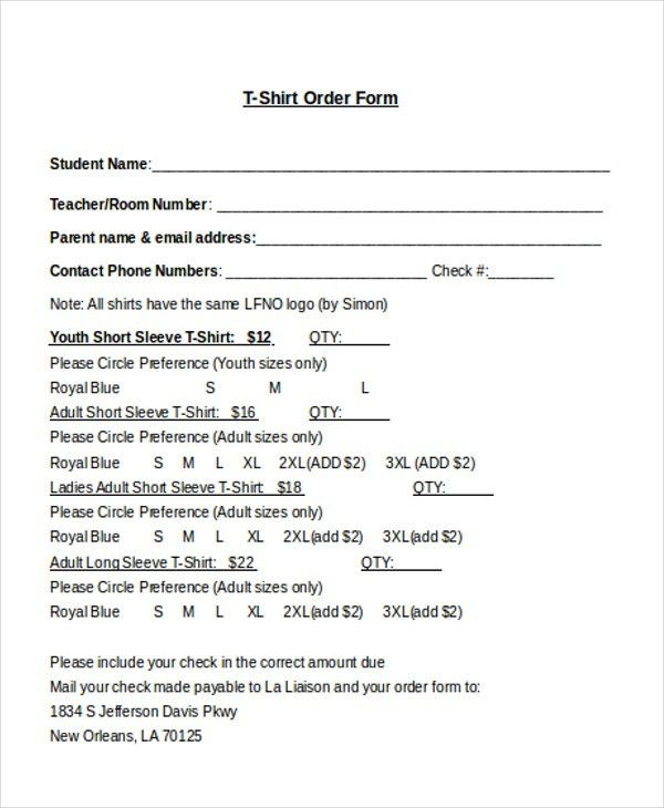 Sample T-Shirt Order Form - 10+ Free Documents in Doc, PDF