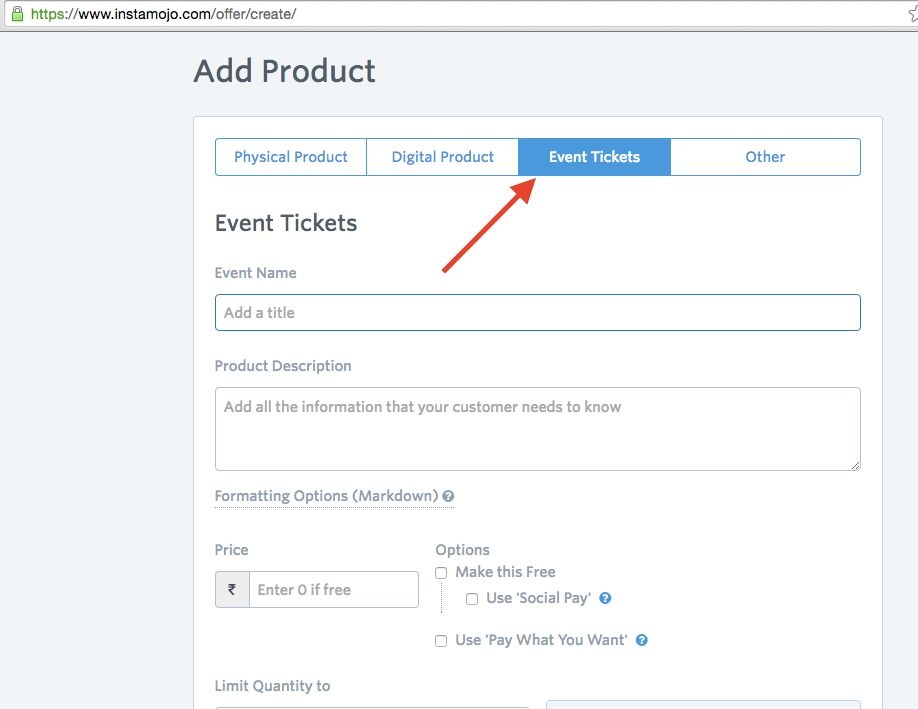 Create Event Ticket Link – Instamojo